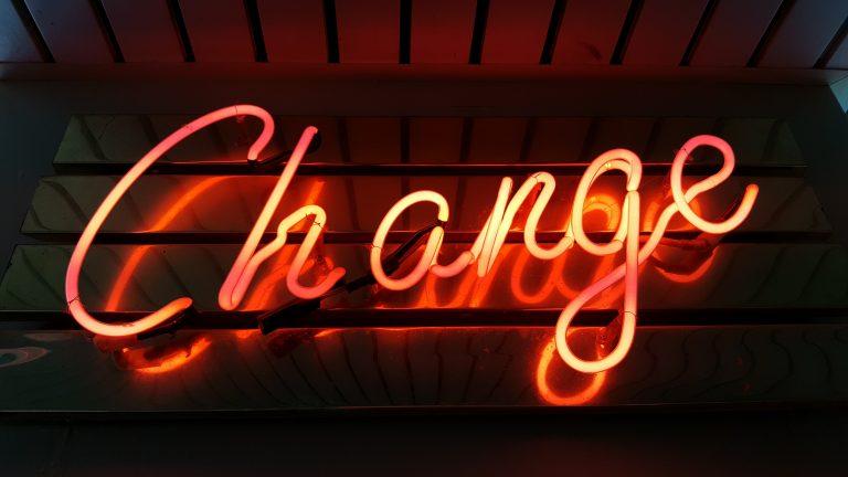 Sign saying change